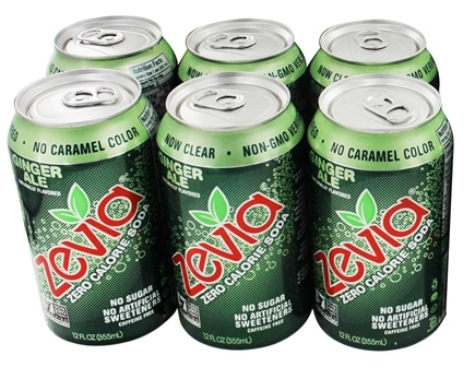 Zevia - All Natural Soda Sweetened with Stevia 12 oz. Cans Ginger Ale Flavor - 24 Pack