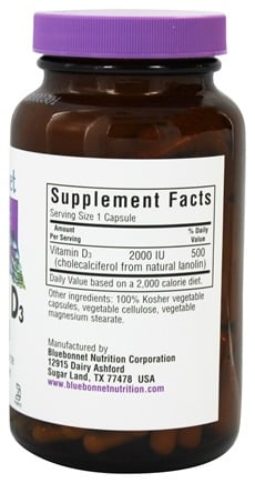 Vitamin D3 2000 IU - 180 Vegetarian Capsules by Bluebonnet Nutrition