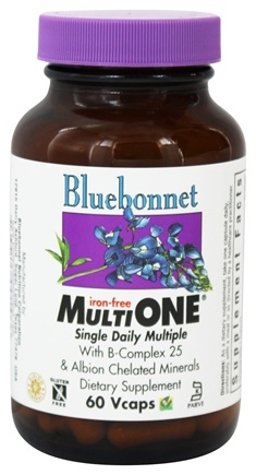 Bluebonnet Nutrition - Multi One Multivitamin & Multimineral Iron-Free - 60 Vegetarian Capsules