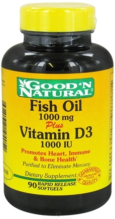 DROPPED: Good 'N Natural - Fish Oil 1000 mg Plus Vitamin D3 1000 IU - 90 Softgels