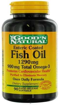 DROPPED: Good 'N Natural - Fish Oil with 900 mg. Total Omega-3 Once Daily Formula 1290 mg. - 90 Enteric Coated Softgels CLEARANCE PRICED