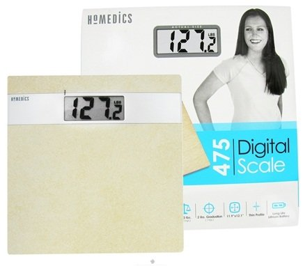DROPPED: HoMedics - Electronic Digital Scale Ceramic Tile with Silver Accents (SC-475) - CLEARANCE PRICED