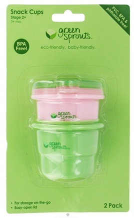 DROPPED: Green Sprouts - Snack Cups With Lids BPA-Free Stage 2+ (3+ Months) Sage Green & Rose Pink - 2 Pack CLEARANCE PRICED