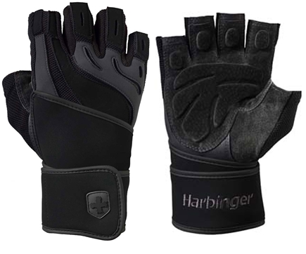 DROPPED: Harbinger - Training Grip WristWrap Lifting Gloves - Small Charcoal/Black - 1 Pair CLEARANCE PRICED
