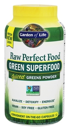 Garden of Life - Raw perfect Food Green Super Food - 240 Vegetarian Capsules