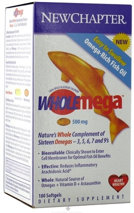 DROPPED: New Chapter - Wholemega Omega Fish Oil 500 mg. - 180 Softgels