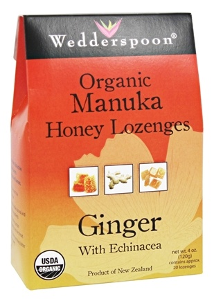 DROPPED: Wedderspoon - Organic Manuka Honey Lozenges Ginger With Echinacea - 4 oz.