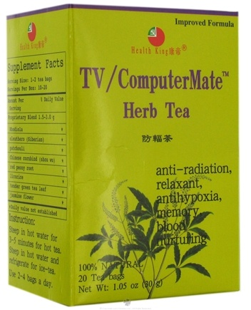 DROPPED: Health King - TV/Computer Mate Herb Tea - 20 Tea Bags CLEARANCE PRICED