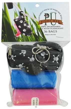 DROPPED: Love2Pet - PU Poochie Pick Up Bags With Dispenser Black Skulls - 36 Dog Waste Bags CLEARANCE PRICED
