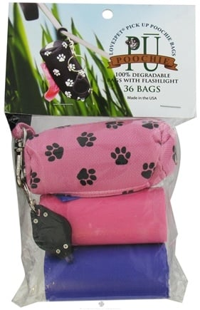 DROPPED: Love2Pet - PU Poochie Pick Up Bags With Dispenser Pink Pawprints - 36 CLEARANCE PRICED