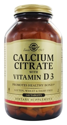 Solgar - Calcium Citrate With Vitamin D3 - 240 Tablets