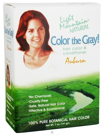 DROPPED: Light Mountain Natural - Color The Gray Hair Color & Conditioner Kit Auburn - 7 oz. CLEARANCE PRICED