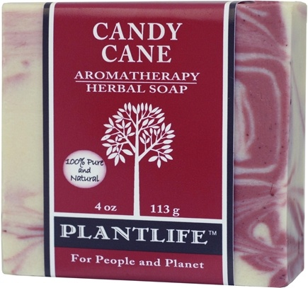 DROPPED: Plantlife Natural Body Care - Herbal Soap Candy Cane - 4 oz. CLEARANCE PRICED
