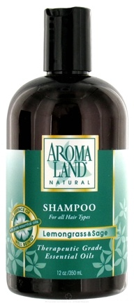 DROPPED: AromaLand - Natural Shampoo For All Hair Types Lemongrass & Sage - 12 oz. CLEARANCE PRICED