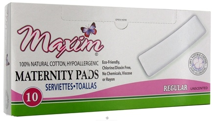 DROPPED: Maxim Hygiene - Natural Cotton Maternity Pads Regular Unscented - 10 Count CLEARANCE PRICED