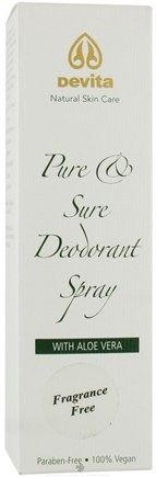 DROPPED: DeVita - Pure & Sure Deodorant Spray with Aloe Vera Fragrance Free - 4 oz.