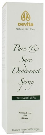 DROPPED: DeVita - Pure & Sure Deodorant Spray with Aloe Very Italian Breeze for Women - 4 oz.