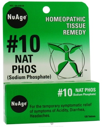 DROPPED: NuAge - #10 Sodium Phosphate Homeopathic Tissue Remedy - 125 Tablets CLEARANCE PRICED