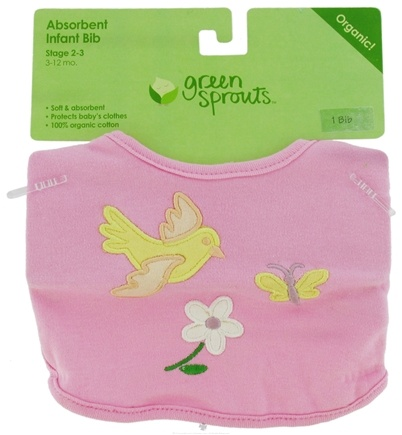 DROPPED: Green Sprouts - Organic Cotton Infant Bib Bird Pink 6-12 Months