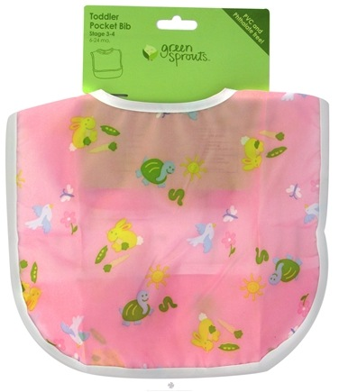 DROPPED: Green Sprouts - Toddler Bib Animals 6-24 Months PVC-Free Pink - CLEARANCE PRICED