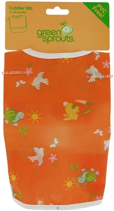DROPPED: Green Sprouts - Toddler Bib Animals 6-24 Months PVC-Free Orange - CLEARANCE PRICED