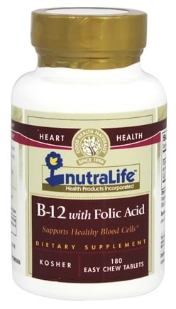 DROPPED: Nutralife - B-12 with Folic Acid - 180 Tablets