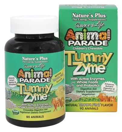 Nature's Plus - Animal Parade Children's Tummy Zyme Natural Tropical Fruit Flavor - 90 Chewable Tablets