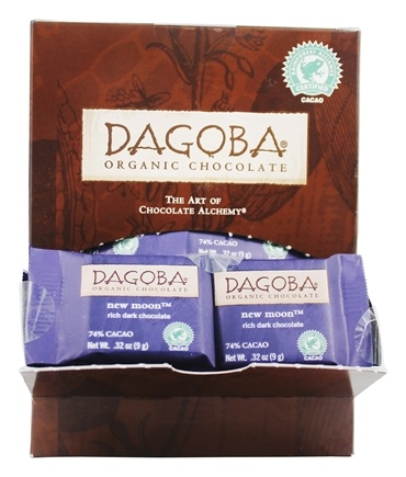 DROPPED: Dagoba Organic Chocolate - Dark Chocolate Tasting Squares 74% Cacao Rich New Moon - 0.32 oz.