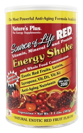 DROPPED: Nature's Plus - Source of Life Red Vitamin Mineral & Protein Energy Shake Natural Exotic Red Fruit Flavor - 1.1 lb.