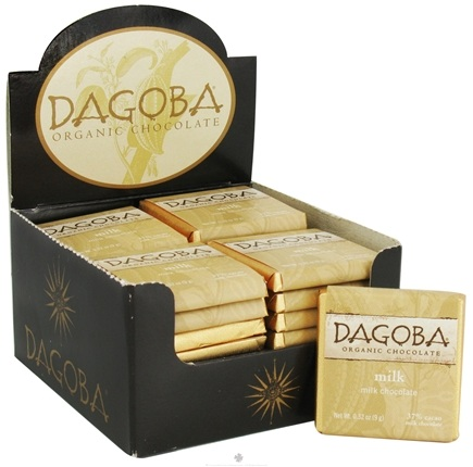 DROPPED: Dagoba Organic Chocolate - Tasting Squares Milk Chocolate Milk 37% Cacao - 0.32 oz. CLEARANCE PRICED