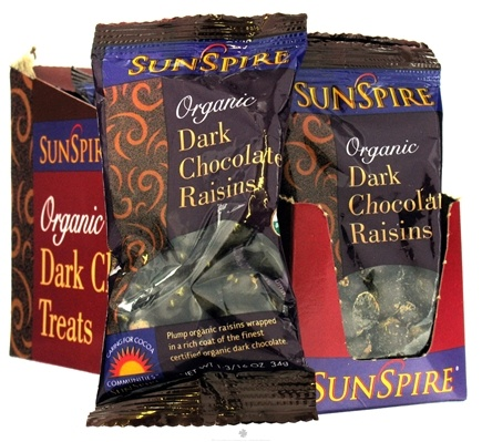 DROPPED: SunSpire - Organic Dark Chocolate Raisins - 1.19 oz. CLEARANCE PRICED