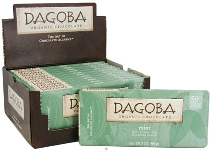 Dagoba Organic Chocolate - Dark Chocolate Bar 59% Cacao Mint - 2 oz.