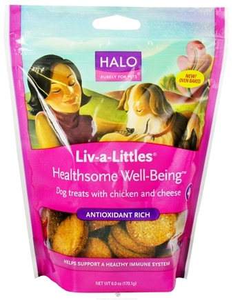DROPPED: Halo Purely for Pets - Liv-A-Littles Healthsome Well-Being Antioxidant Rich Dog Treats Chicken & Cheese - 6 oz. CLEARANCE PRICED