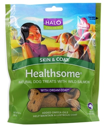 Halo Purely for Pets - Liv-A-Littles Healthsome Skin & Coat Dog Treats With Dream Coat Wild Salmon - 6 oz.