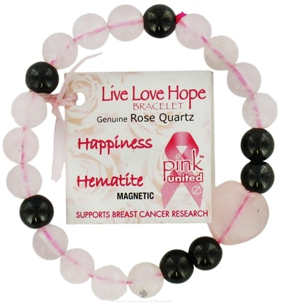DROPPED: Zorbitz - Live Love Hope Genuine Rose Quartz Bracelet Hapiness Magnetic Hematite - CLEARANCE PRICED