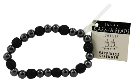 Zorbitz - Karmalogy Lucky Karma Beads Bracelet Hematite Black Happiness Strength