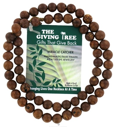 Zoom View - The Giving Tree Lucky Acai Seeds Miracle Catcher Necklace Natural Brown