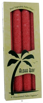 DROPPED: Aloha Bay - Unscented Palm Tapers Coral Red - 4 Pack(s) CLEARANCE PRICED