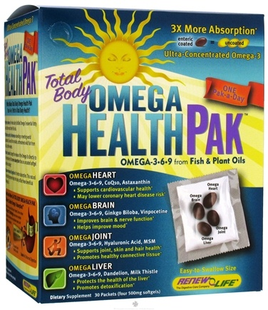 DROPPED: ReNew Life - Omega Health Pak Total Body Omega 3-6-9 From Fish & Plant Oils 500 mg. - 30 Packet(s)