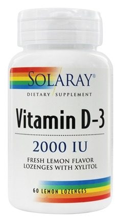 Solaray - Vitamin D3 With Xylitol Fresh Lemon Flavor 2000 IU - 60 Lozenges
