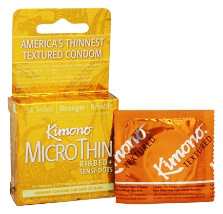 Zoom View - Kimono Lubricated Latex Condoms Textured
