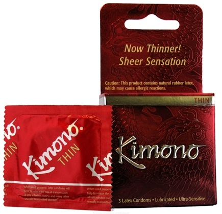 DROPPED: Mayer Laboratories - Kimono Lubricated Latex Condoms Thin - 3 Pack(s)
