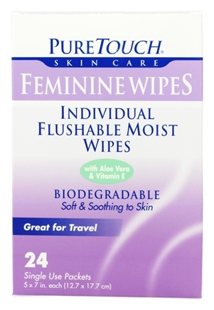 DROPPED: Pure Touch Skin Care - Individual Flushable Moist Feminine Wipes Biodegradable - 24 Packet(s)
