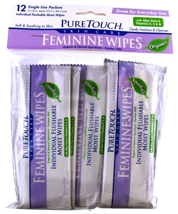 Zoom View - Individual Flushable Moist Feminine Wipes Organic