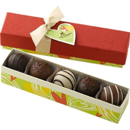 DROPPED: Lake Champlain Chocolates - All Natural Valentine Chocolate Truffles 5 Piece - 4.3 oz. CLEARANCE PRICED