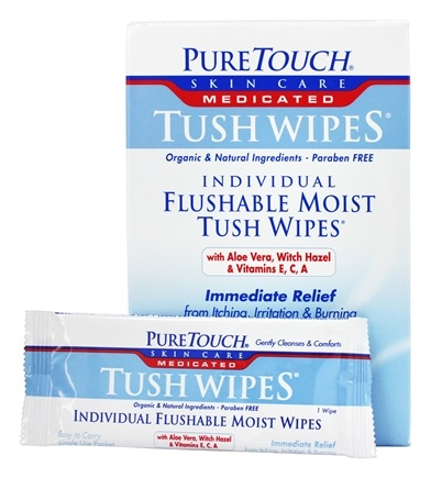 Buy Pure Touch Skin Care Individual Flushable Moist Tush