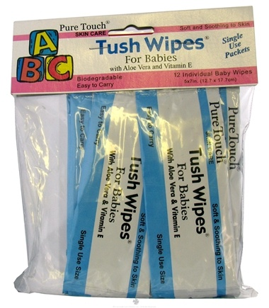 DROPPED: Pure Touch Skin Care - Individual Biodegradable Tush Wipes For Babies - 12 Packet(s)