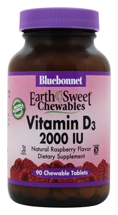 Bluebonnet Nutrition - Earth Sweet Chewable Vitamin D3 Natural Raspberry Flavor 2000 IU - 90 Chewable Tablets