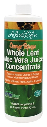 Aloe Life - Whole Leaf Aloe Vera Juice Concentrate Orange Papaya - 16 oz.