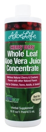 Aloe Life - Whole Leaf Aloe Vera Juice Concentrate Cherry Berry - 16 oz.